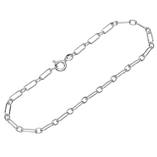 NKlaus Pulsera de plata de ley 925, 19 cm, cadena de ancla plana laminada, redonda, 12079