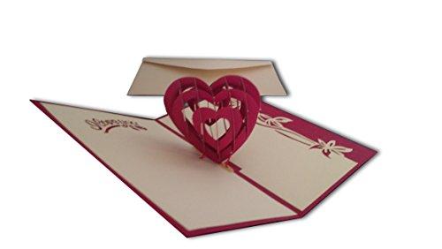 Carte de vœux pop-up «I Love You » avec cœurs en 3D pour la St-Valentin ou un anniversaire