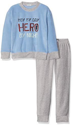 Undercolors of Benetton Jungen Lutk Fashion 2nd Del Zweiteiliger Schlafanzug, Mehrfarbig (Azzurro/Grigio Melange 10h), XS