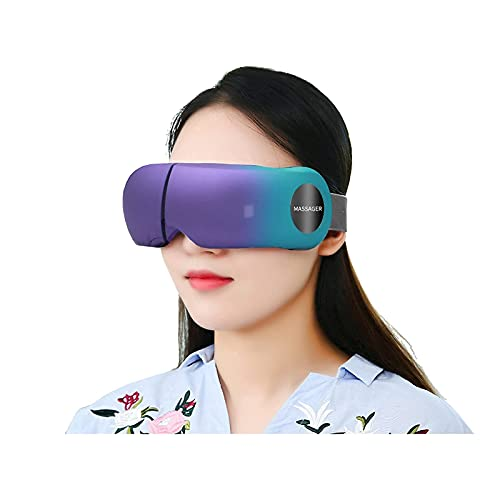 Stress Therapy Wireless Smart Eye Massager - Electric Mask Machine w/ Heat Compress, Built-in Battery & Adjustable Elastic Band - Air Pressure Vibration Massage Eye Relief With Built-in Relaxing Music