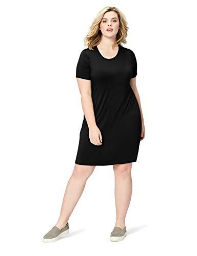 Amazon Brand - Daily Ritual Women's Plus Size Jersey Short-Sleeve Scoop Neck T-Shirt Dress, 1X, Navy