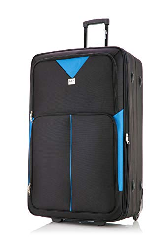 "32"" Extra Large Super Lightweight Expandable Durable Hold Luggage Suitcase Trolley Case Travel Bag with 2 Wheels & Built-in 3 Digit Combination Lock (Black/Blue, 32' Extra Large)"
