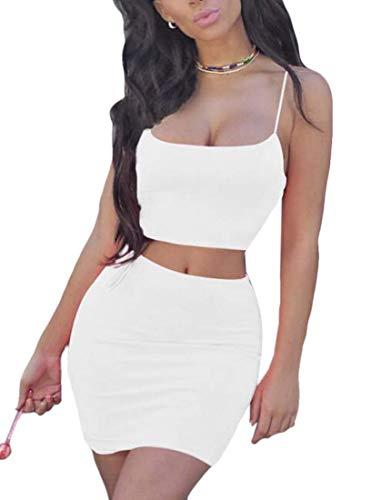 Yisism Women Sexy 2 Pieces Outfits Spaghetti Strap Crop Top Bodycon Mini Skirt White US S
