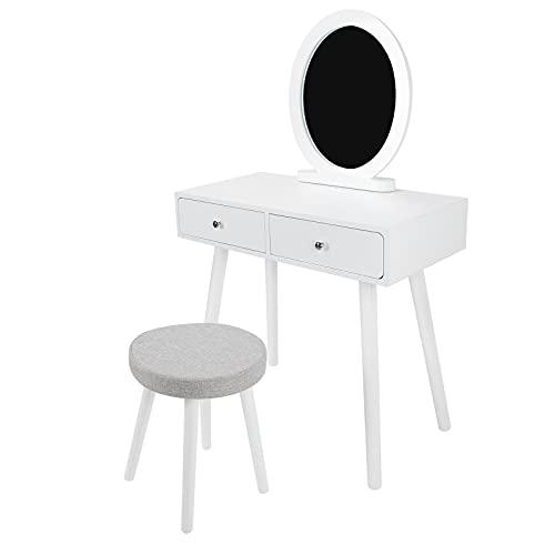 XQAQX Tocador, Mesa de Maquillaje de Doble cajón, tocador de Dormitorio en casa con Taburete, Mesa de Estar, Muebles para el hogar