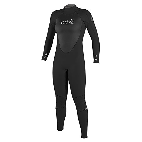O'Neill Women's Epic 3/2mm Back Zip Full Wetsuit, Black/Black/Black, 12