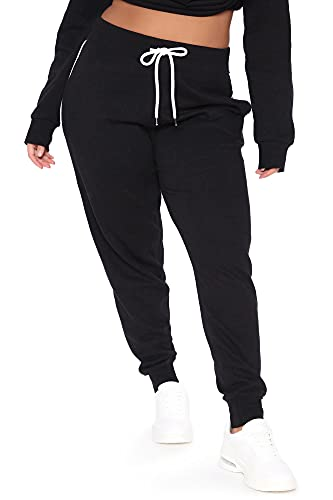 POSESHE Plus Size Athletic Pants for Women Tapered Workout Yoga Lounge High Waisted Sweatpants with Pockets X-Large Black