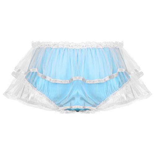 Oyolan Mens Soft Satin Frilly Mesh Layers Skirted Panties Sissy Ruffled Lace Trim Briefs Underwear Light_Blue X-Large