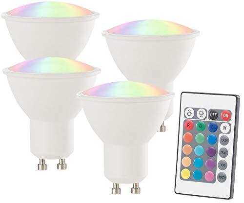 Luminea LED Spot Farbwechsel: LED-Spot GU10, 4 Watt, 300 lm, A+, RGB & WW 3000 K, Fernbed, 4er-Set (Farbige LED Spots)