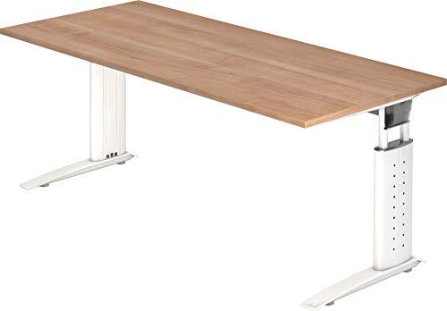 Bümö® Schreibtisch höhenverstellbar 68-86 cm   Bürotisch mit Gestell in weiß   höhenverstellbarer Büroschreibtisch   Tisch für\'s Büro & PC in Top Qualität - Büromöbel (Rechteck: 180 x 80 cm, Nussbaum)