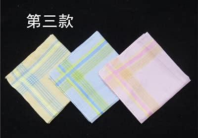 DinoSwap 3PCS Lady Plaid Handkerchief Hand Towels Women Wedding Party Cotton Handkerchiefs Ladies Mendil Zakdoek Katoen Chustki H08 - 311605