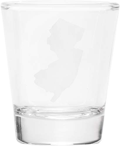 My Heart Is In New Jersey Shape In White 1 oz Clear Shot Glass