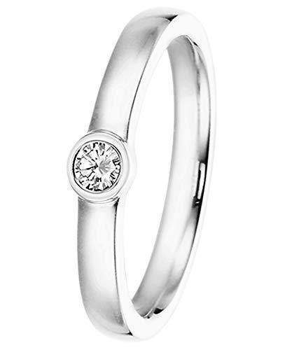 trendor Verlobungsring 585 Weißgold Damenring mit Diamant 0,15 ct 532497-54/17,2 Ringgröße 54/17,2