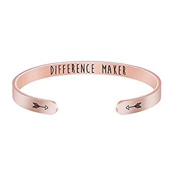 Motivational Gifts for Women Encouragement Bracelets Rose Gold Cuff Bangle Bracelet Birthday Christmas Jewlery for Girls Friends Difference Maker