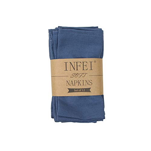 INFEI Soft Solid Color Linen Cotton Dinner Cloth Napkins - Set of 12 (40 x 40 cm) - for Events & Home Use (Aegean)