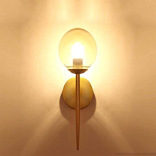 MJZHJD Negro lámparas de Hierro Forjado Simple Pared Caliente de la lámpara LED Dormitorio lámpara de cabecera Restaurante de iluminación Creativa Luz de Pared (Color : Oro)