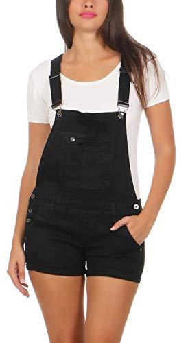 Fashion4Young 10041 Damen Latzhose Jeanslatz Hose Hotpants Shorts Kurze Hose Jeans Jeanslatzhose (M/38, schwarz)