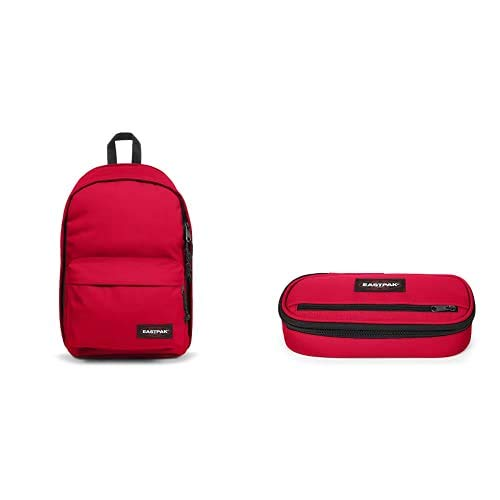 EASTPAK Back To Work Zaino, 43 cm, 27 L, Rosso (Sailor Red) + Oval Zippl'r Astuccio, 22 cm, Rosso (Sailor Red)