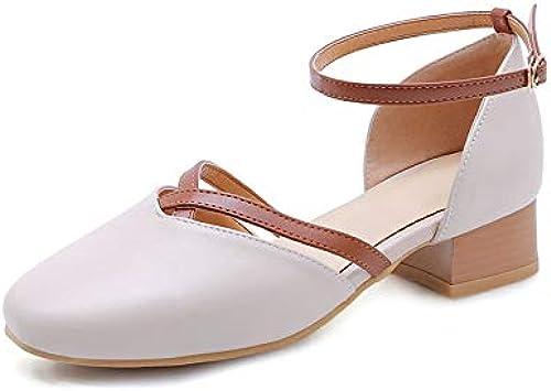 HommesGLTX Talon Aiguille Talons Hauts Sandales Sandales 2019 De Mode Femmes Pompes PU Bout Carré D'été Chaussures Boucle Douce Confortable Talons Carrés Décontracté Chaussures Femme  rentable