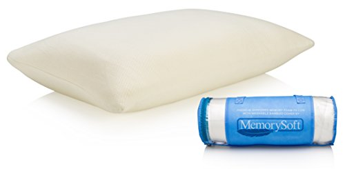 MemorySoft Ultra-Luxury Shredded Memory Foam Pillow Washable, Hypoallergenic and Cool Bamboo Case- Great as a Reading Pillow or Bed Rest Pillow - Standard Size Fits Twin to King