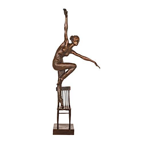 LOSAYM Bust Handmade Sculptures Girl Dance Standing On Chair Bronze Sculpture Statue Home Decor Statuette