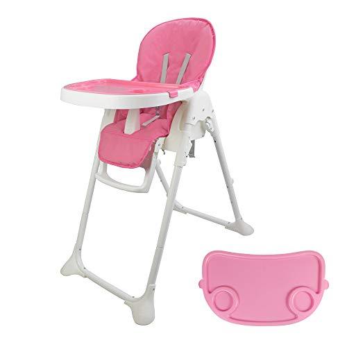 Leogreen Hochstuhl Baby mit Liegefunktion, Kindertreppenhochstuhl 105 x 89 x 56 cm, faltbarer Babystuhl essen, Rosa