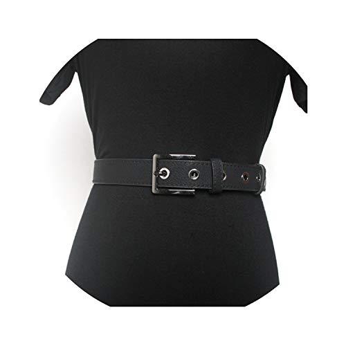hotmoment-uk Cinturón de piel con hebilla para mujer, estilo vintage, color negro Negro Negro (110CM