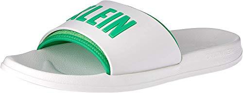 Calvin Klein Männer Slipper Swimwear CK Artikel KM0KM00376 Slide, 100 Bianco - White, EUR 45/46 - UK 10.5/11 - USA 11.5/12 - cm 29/29.5