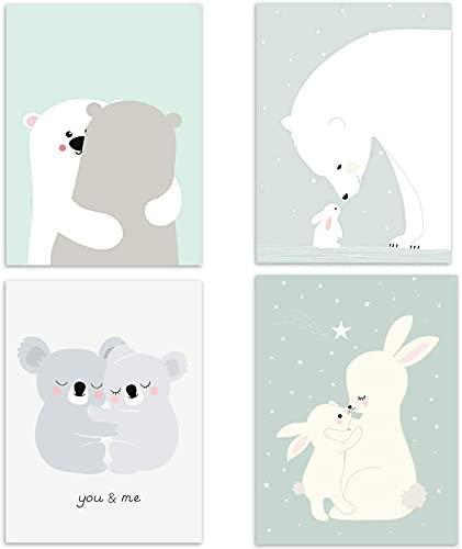 Juego de 4 pósteres para habitación de bebé, tamaño DIN A4, decoración para niñas y jóvenes, decoración para habitación infantil, animales del bosque, escandinavos, 4 unidades