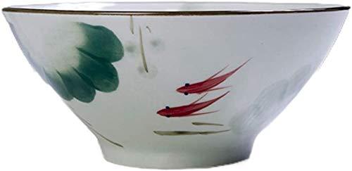 Cuencos de postre Tazón de sopa Ramen Bowl Japonés Ramen Bowl Home Bowl Dibujado a mano Cerámica Cuenco Banquete Cena Tazón Hielo Helado Postre Bowl Ensalada Servidor de ensaladas (Color: 800ml, Tamañ