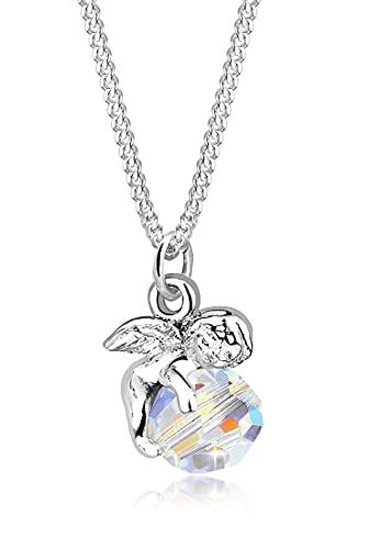 Elli Halskette Damen Engel Anhänger mit Kristallen aus 925 Sterling Silber
