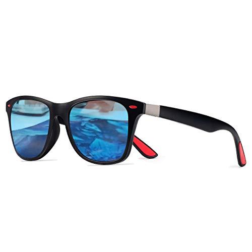 CHEREEKI Polarisierte Mode Sonnenbrille mit UV400 Schutz Unisex Luxus Klassische Brille für Herren Damen (Schwarz und Blau)