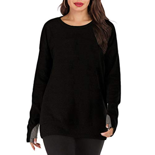 Find Bargain Lovor Women's Long Sleeve Crewneck Tops Solid Loose Casual Sweatshirts Blouses Workout ...