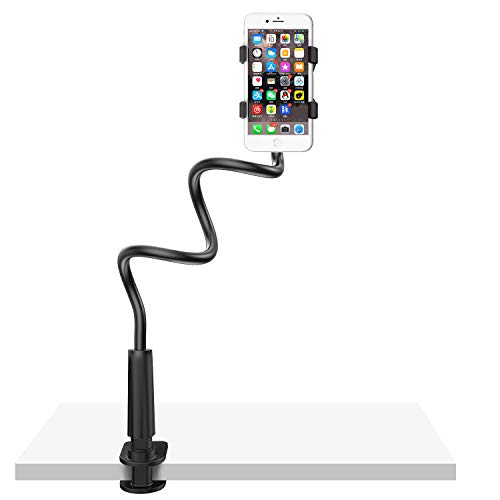 Gooseneck Cell Phone Holder Bed, Lazy Bracket, Universal Mobile Phone Clip Stand, Flexible Long Arm Rotating Mount for for Bed, Office, Kitchen, iPhone, pad, Watching Movies