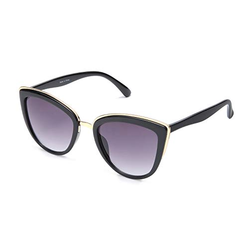 SKYWAY Retro Vintage Cat Eye Sunglasses for Women PC Metal Frame Classic Style UV Protection (grey gradient)
