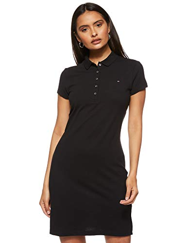 Tommy Hilfiger Slim Polo Dress Robe, Noir (Black Bds), 42 (Taille Fabricant: X-Large) Femme