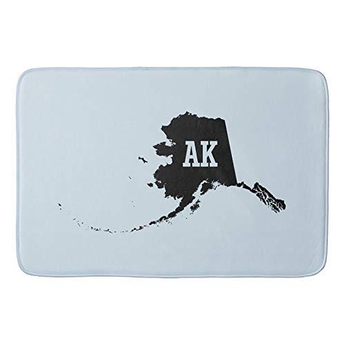 YAOMY Badteppiche und Matten Vintage Alaska Landkarte Aks und Anti-Rutsch-saugfähiger Bad/Küche Läufer Bodenmatte Teppich 40x60 cm, einfarbig, 40 x 60 cm