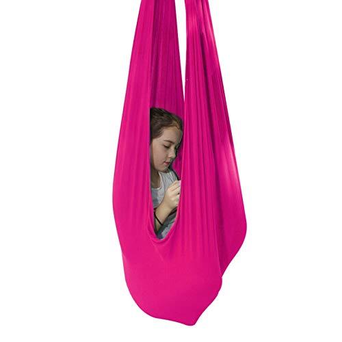 LHHL Columpios De Yoga para Niños Columpio Sensorial Interior Terapia Abrazo Niño para TDAH Aspergers E Terapia De Autismo (Color : Rose Red, Size : 150 * 280CM/59 * 110in)