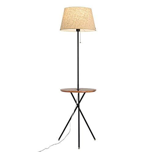 Cxjff Couchtisch Stativ Stehlampe mit USB Ladeschnittstelle Leinenschirm Schwarz Nussbaum Holzplatte Moderne Einfache Stehlampe 1,53 Mt mit Zugschalter for Wohnzimmer Schlafzimmer Büro