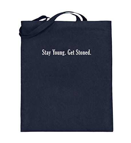 Stay Young Get Stoned Bolsa de yute | Cannabis Cannabis Gras Statement bolsa de algodn, color Azul, talla 38cm-42cm