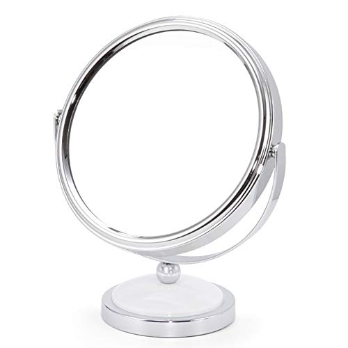 Miroir Miroir Maquillage Coiffeuse à Double Face de loupe Miroir de Bureau avec Rotation à 360 degrés ZHANGAIZHEN (Couleur : Blanc, Taille : Small)