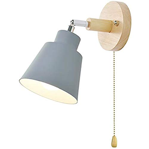 Wall Lights with Pull Cord Switch Living Room Indoor Wall lamp Edison E27 Industrial Light Wall Not Included Bulb Freely 350°Rotatable (Grey)