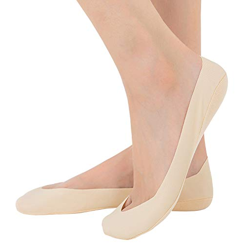 Relaxife Womens No Show Thin Socks Cotton Nylon Low Cut Liner Non Slip hidden Invisible Socks for Flats Boat Sneaker 4 to 6 pack, Footies Nude 5 Pairs, Shoe Size: 5-8