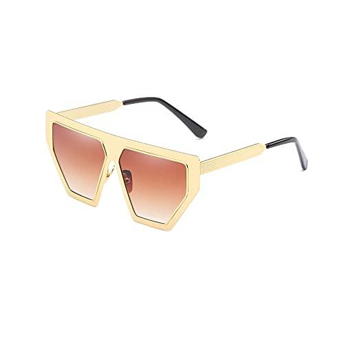Heigmz Nvtyj - Gafas de sol con montura de metal para gafas de sol, ideal para conducir y pescar en bicicleta (color dorado)