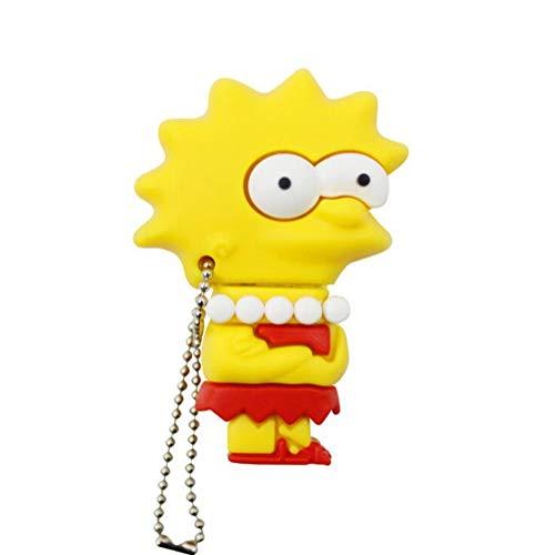 Memorias USB Flash Drive Pen Unidad Pulgar USB 2.0 Creativo Dibujos Animados The Simpsons Serie Disco U 4 A 128 GB Alta Velocidad Portátil Regalo (4GB,Lisa Simpson)
