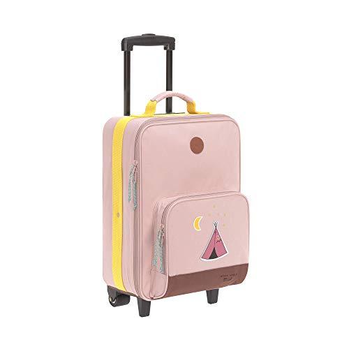 LÄSSIG Kinder Trolley Reisekoffer mit Packriemen und Rollen 18,3 Liter, 46 cm, 3 Jahre/Trolley Adventure Tipi, Altrosa