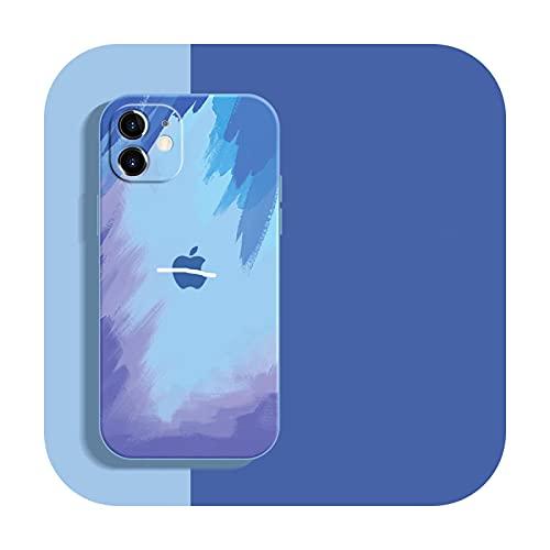 Funda de silicona líquida suave Wartercolor para iPhone 12 Mini 11 Pro Max 11Pro 12Pro Xs X Xr Soft Cover para iPhone 7 8 Plus-DongXue-para iPhone 11ProMax