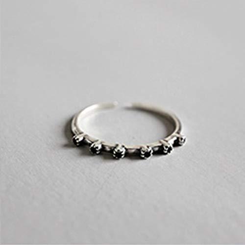 Hddwzh Woman Ring,925 Sterling Silber Ring Verstellbar Schwarz Zirkonia Stapelbar Ring Carving Flower Schmuck Türkische Frauen