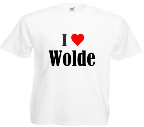 Camiseta I Love Wolde para mujer, hombre y niños en los colores negro, blanco y rosa. Blanco XXL