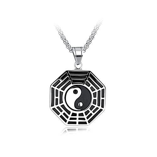 XKUN Colgante de Bagua de cinco elementos Yin Yang,Colgante de brújula de Tai Chi,Collar de acero de titanio para hombre