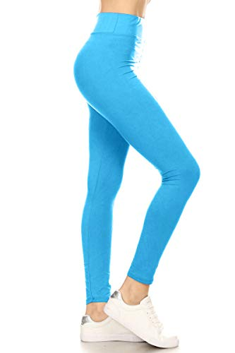 LYR128-TURQUOISE2 Yoga Solid Leggings, One Size